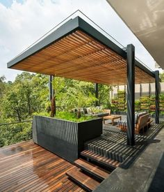 Amazing Modern Pergola Patio Ideas for Minimalist House. Many good homes of classical, modern, and minimalist designs add a modern pergola patio or canopy to beautify the home. In addition to the installa. Modern Pergola, Outdoor Pergola, Backyard Pergola, Patio Roof, Pergola Kits, Pergola Lighting, Pergola Roof, Modern Landscaping, Corner Pergola
