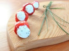 Goat Cheese and Chive-Stuffed Peppadews. Perfect #Christmas appetizer. http://www.ivillage.com/best-ivillage-party-appetizers/3-b-66958#