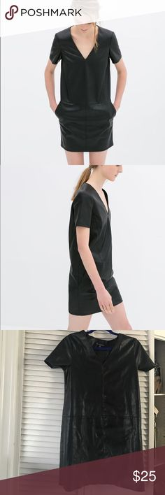 Short sleeve dress Short sleeve vneck faux leather dress. Similar to the picture of the model except it had no pockets. Super cute when paired with ankle booties and can also be worn under a bomber or military jacket for an edge look. For a simple dressy look can be work with stewpot block heel sandals and a choker. one clothing Dresses Mini