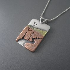 Handmade Meandering AuTrain River Mixed Metal Silver, Copper & Brass Pendant