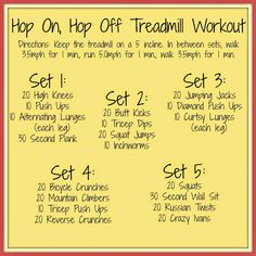 Running A Thousand Miles: Hop On, Hop Off Treadmill Workout http://www.runningathousandmiles.com/2014/08/hop-on-hop-off-treadmill-workout.html