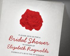 Trendy Floral Red And Black Bridal Shower Invitation