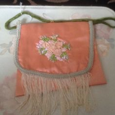 Victorian peach purse with handle with  of hand by cindysvictorian