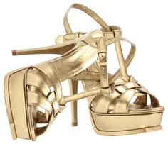 Saint Laurent Tribute metallic gold bronze leather platform sandals - http://womenspin.com/shoes/saint-laurent-tribute-metallic-gold-bronze-leather-platform-sandals/
