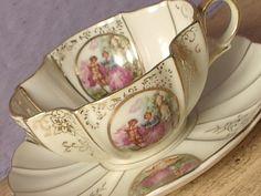 Antique Lefton china tea cup set, French Victorian couple tea cup, Japanese tea cup and saucer, porcelain tea cup, shabby chic tea set