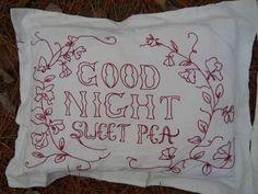 Redwork Embroidery Pattern  -  Good Morning Glory & Good Night Sweet Pea