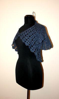Dark blue handmade crochet shrug for her Very pretty by darina23, $39.00