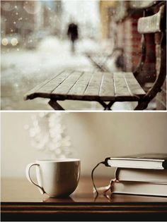 Brisk snowy days outside & hot chocolate/coffee/tea to warm up the insides.