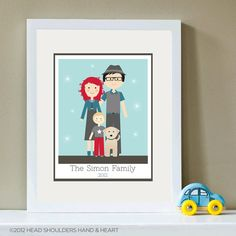 Customizable Polaroid Family of Three and Pet Portrait    HeadHandHeart.etsy.com
