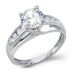 Size- 8.5 - Solid 14k White Gold Solitaire Round CZ Cubic Zirconia Engagement Ring 1.5ct.  List Price: $447.00  Savings: $249.00 (56%)