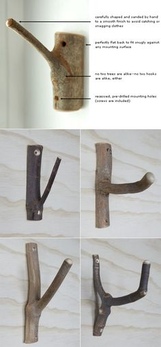 dead-tree-branches as bathroom clothes hooks -- how to do it.