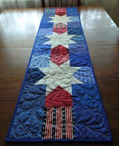 Americana Quilted Table Runner Patriotic Star Table Runner