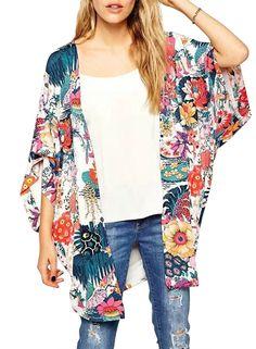 641dfbcda2 Phoenix Women Chiffon Boho Floral Print Kimono Cover Up Beach Wear at Amazon  Women s Clothing store