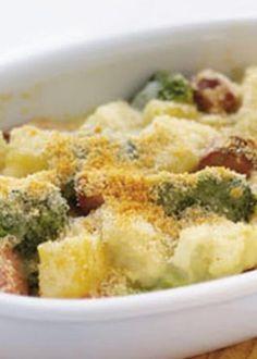 Gratinado de batata doce com couve-flor e brócolos