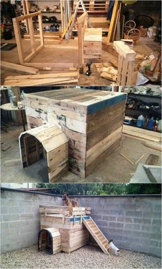 This is certainly a cave shape of the pallet dog house where you can superb make the effective use of the wood pallet all around it. Here the pallet framing of the dog house has been fantastic done that has the upside designing through the use of staircase effect inside it.