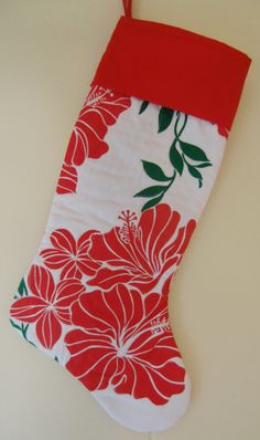 Tropical Hawaiian Quilted Christmas Stocking by KoloaQuiltsandMore,