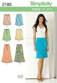 Simplicity pattern 2185: Misses' Easy to Sew Skirts. Skirts & Pants sewing patterns.