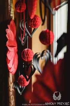 17. Rock Wedding,Black Red decor,Paper decor / Rockowe wesele,Czarne czerwone dekoracje,Papierowe dekoracje,Anioły Przyjęć