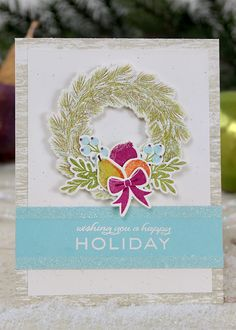 Dawn Woleslagle for Wplus9 featuring Woodland Wreaths stamps and dies.