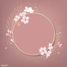 Round cherry blossom frame vector | premium image by rawpixel.com / wan New Background Images, Flower Background Wallpaper, Logo Background, Framed Wallpaper, Cute Wallpaper Backgrounds, Flower Backgrounds, Logo Online Shop, Cherry Blossom Background, Cherry Blossom Vector