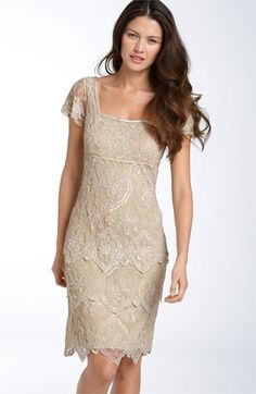 b4c8f007ad Champagne for the Mother of the Bride! This Pisarro Nights Beaded Tiered  Shift Dress with sheer flutter sleeves