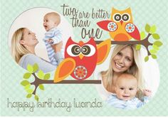Two Are Better Than One Let these cute Owls help you celebrate your next birthday Owl Nursery, Second Best, Cute Owl, Owls, Toy Chest, Storage Chest, Card Making, Messages, Feelings