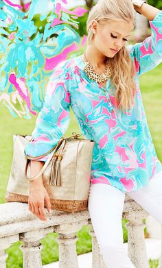 Lilly Pulitzer Elsa Top in Pink Sands.