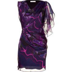 MATTHEW WILLIAMSON Black/Bordeaux Draped Silk Dress ($270) ❤ liked on Polyvore featuring dresses, purple, vestidos, short dresses, short purple dresses, purple cocktail dresses, cocktail party dress and short sleeve cocktail dresses