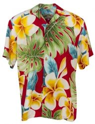 Plumeria Paradise Mens Hawaiian Aloha Shirt in Red Paradise Clothing, Going Barefoot, Mens Hawaiian Shirts, Bowling Shirts, Aloha Shirt, Clothing Co, Shirt Outfit, Men Casual, Red
