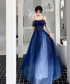 Cute Blue Sweetheart Tulle Lace Prom Dress, Long Evening Dress, Blue Formal Dress · PeachGirlDress · Online Store Powered by Storenvy Grey Evening Dresses, Prom Dresses Blue, Dresses For Teens, Elegant Dresses, Pretty Dresses, Bridesmaid Dresses, Formal Dresses, Dress Prom, Fancy Dresses For Weddings