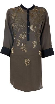 Khakhi ferns tunic by NAMRATA JOSHIPURA.http://www.perniaspopupshop.com/designers-1/namrata-joshipura