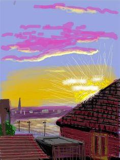 Nesta pintura o pôr-do-sol é o que chama mais á atenção pois a cor utilizada caiu bem no desenho .