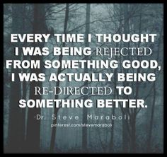 Sometimes rejection is simply a redirection to something better...Believe!