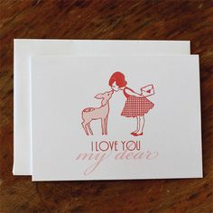 Single Card  I Love You My Dear  Greeting or by sarahjanestudios
