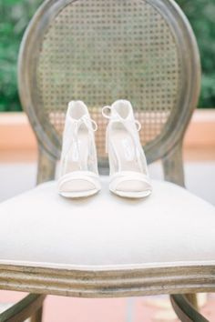 White wedding shoes for bride - open-toe wedding shoes {Milena Grace Photography}