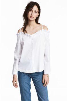 Blusa de ombros descobertos - Branco - SENHORA | H&M PT 1
