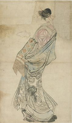 'Walking Figure of a Courtesan' ( Edo period, 1760-1868  ). Ink and colour on paper by   Katsushika Hokusai   ( 1760 - 1849). Album leaf.Image and text courtesy Freer Sackler.  Japanese Art   Copyright with museum  .