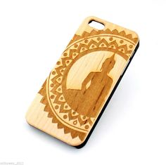 W137 REAL WOOD CASE COVER FOR IPHONE 5C MANDALA BUDDHA floral flower lotus ohm