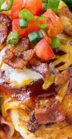 Chili's Monterey Chicken Copycat Recipe with Seasoned Chicken Breasts Smothered in Barbecue Sauce, Cheese, Bacon, and Tomatoes.