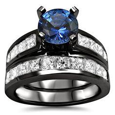 #blackdiamondgem 2.85ct Blue Round Sapphire Diamond Engagement Ring Bridal Set 14k Black Gold Rhodium Plating Over White Gold by Front Jewelers - See more at: http://blackdiamondgemstone.com/jewelry/wedding-anniversary/bridal-sets/285ct-blue-round-sapphire-diamond-engagement-ring-bridal-set-14k-black-gold-rhodium-plating-over-white-gold-com/#!prettyPhoto