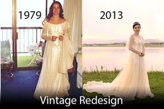 Before and after picture of a full redesigned and restyled bridal gown that has been worn for 3 generations now. (www.theweddingseamstress.com)
