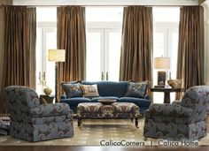 Pheasant Hunt Fabric Collection - Living Room View 1