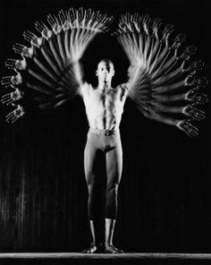 MOVEMENT- [repetition actions, opposites #Unbuilding] for filming single dancer for HOLE: Gus Solomons, Dancer by Harold E. (Doc) Edgerton, 1960