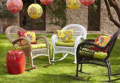 Muebles de mimbre o rattan agregan color en el #jardin