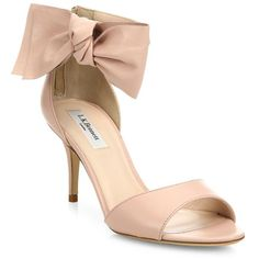 c6950e922ea Agata leather bow sandals by L. Feminine leather sandal with asymmetric bow  detailSelf-covered heel