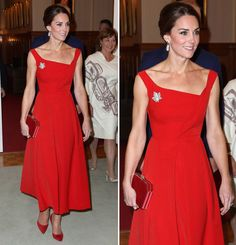 Kate Duchess of Cambridge arrived in a red gown