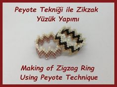 Tutorial Video with Technique # ZigzagRing Construction / Create a Diy Jewelry Tutorials, Beading Tutorials, Bead Crafts, Jewelry Crafts, Tutorial Anillo, Super Duo, How To Make Rings, Beaded Rings, Jewelry