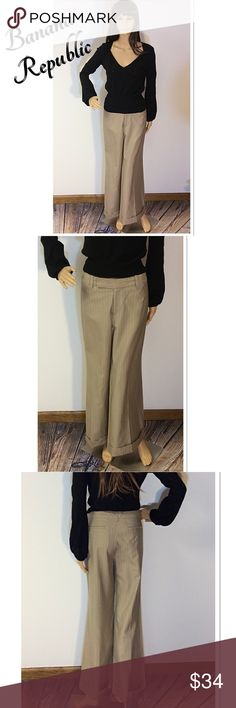 "BANANA REPUBLIC PINSTRIPED MARTIN FIT TROUSERS These TROUSERS are so flattering. They feature trouser style back pockets, fitted through the hips then to a wide cuffed leg. Very chic and stylish with a light pinstripe. See pic for material content. Lying flat Waist 17"" inseam 29"" Banana Republic Pants Wide Leg"