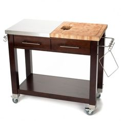 Product Information  Chef Kitchen Island Butcher Block Work Station Rolling…