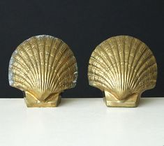 Sculptural Brass Shell Bookends - Vintage Gold Scallop Seashell Bookends